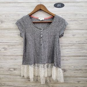 Taylor & Sage Gray Short Sleeve With Lace Hemline
